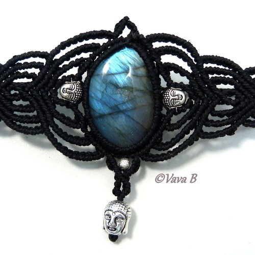 Bracelet en macramé et pierre fine labradorite - réf. b 0380