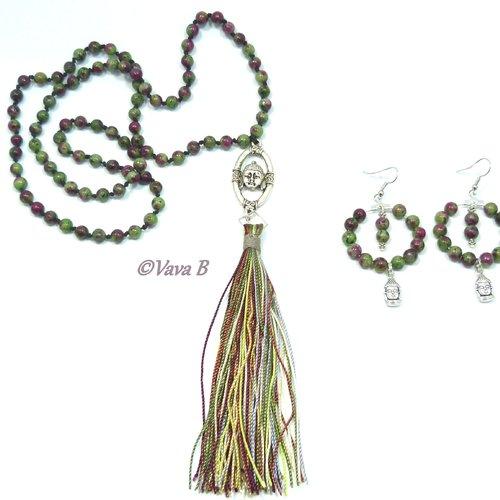 Paurure collier et boucles d'oreilles en zoisite (pierre naturelle) -  ref.c.  0298