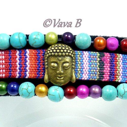 Bracelet ethnique bouddha en pierres naturelles - turquoises - ref. br 0394