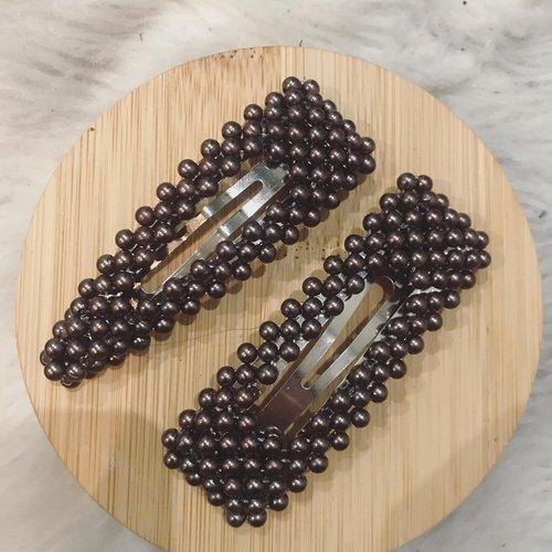 Barrette cheveux / barette perle marron / barrettes clic clac triangulaire, rectangulaire / accessoires cheveux  /pinces