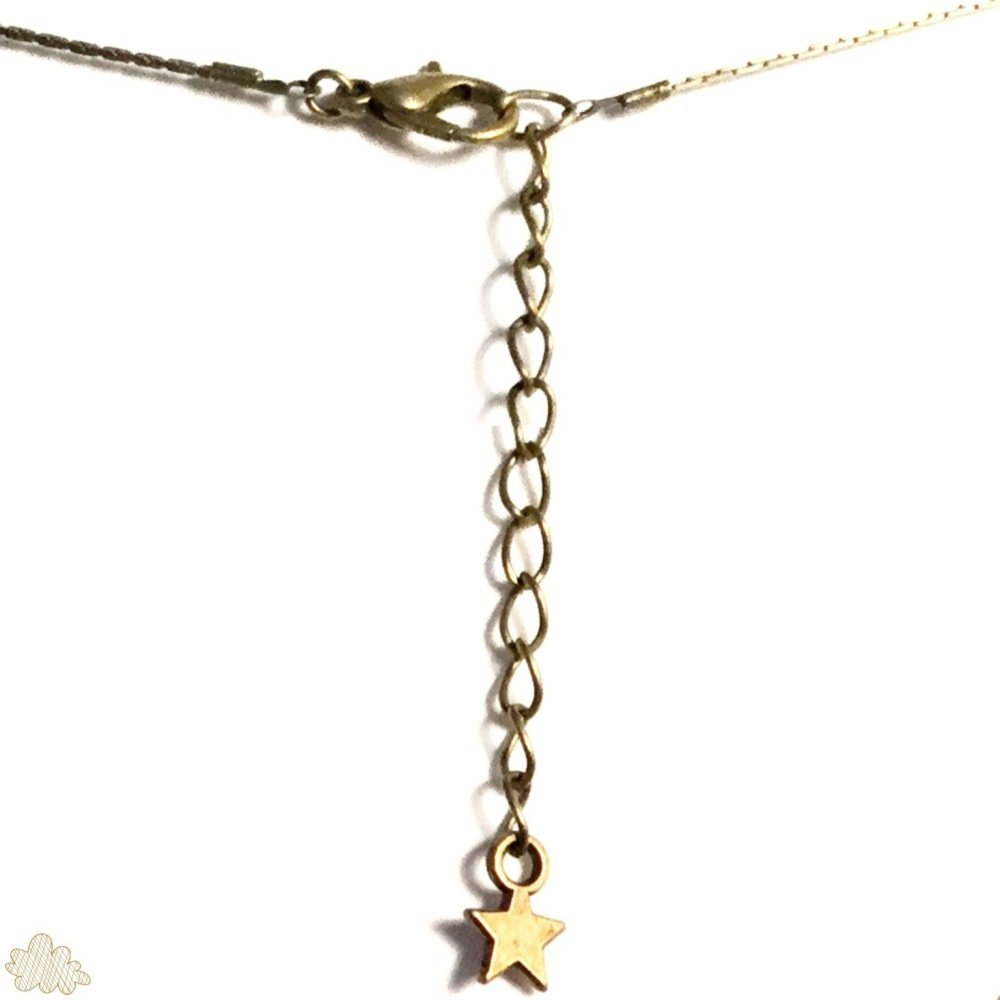 Collier original pendentif éventail motif papier japonais pois blancs sur fond noir avec breloque ronde bronze