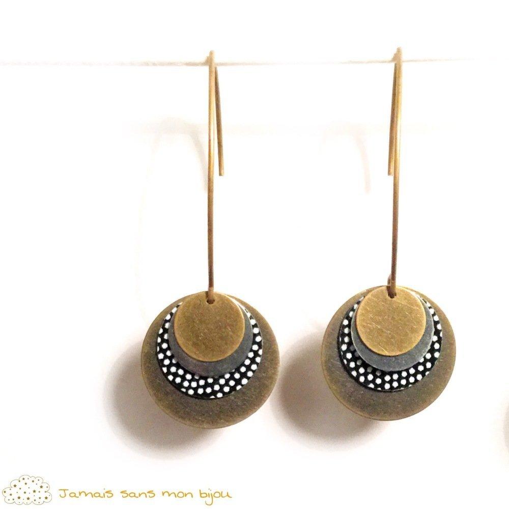Boucles d'oreille jamais sans mon bijou rondes motif papier japonais pois blancs sur fond noir avec sequins bronzes et argent