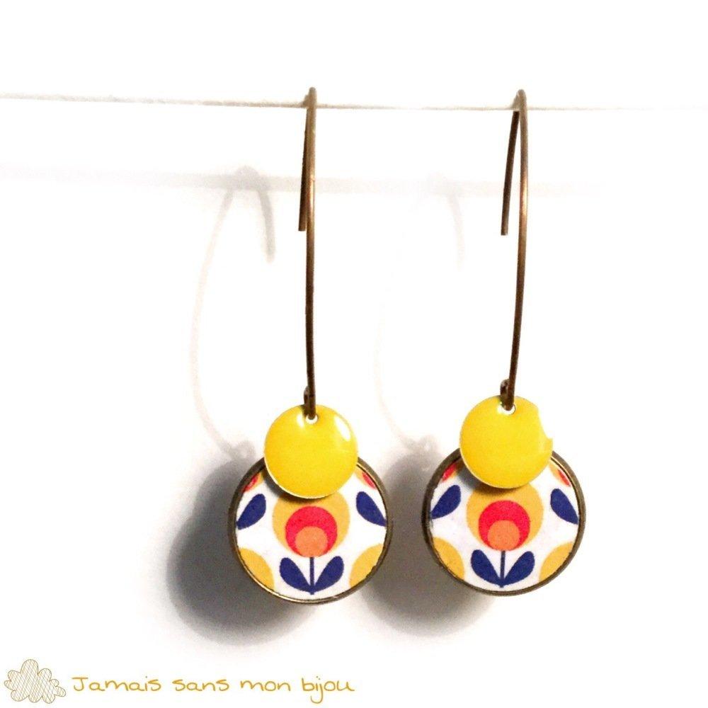 Boucles d'oreille rondes multicolores motif fleur vintage en papier fantaisie avec sequin émaillé jaune