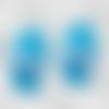 Chaussons chaussures bébés semelle cuir bleue tricot laine bleue point fourrure de marque française