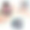 Fait-main poncho bébés filles rose à capuche fausse-fourrure rose et fil fourrure fouine et son emballage coussin laine tricot aiguilles