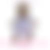 Robe brassière tricot fait-main blanche, coeur rose et jaune estivale marque jarakymini