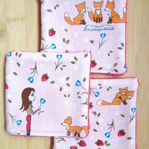 7 lingettes lavable en coton - petit renard
