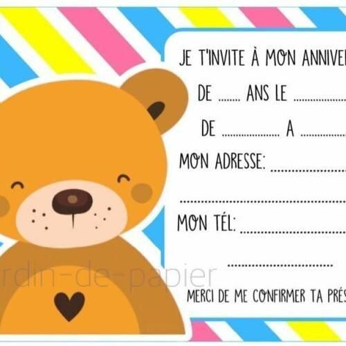 Super Carte d'invitation anniversaire enfant à imprimer ours - Un grand LR-12