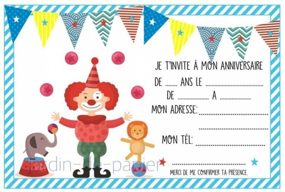 Carte D Invitation Anniversaire Enfant A Imprimer Cirque Un Grand Marche