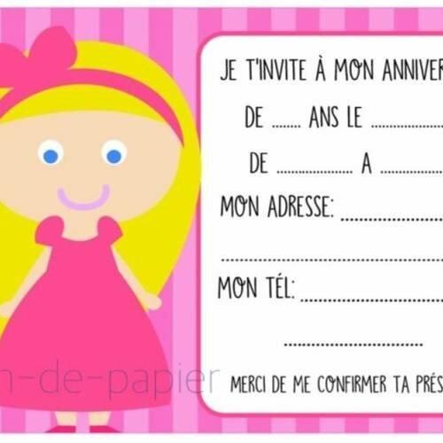 Carte D Invitation Anniversaire Enfant A Imprimer Princesse Un Grand Marche