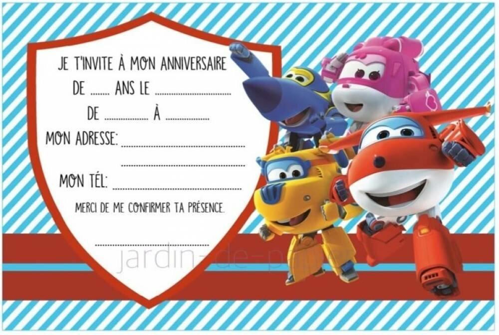 Carte D Invitation Anniversaire Enfant A Imprimer Superwings Un Grand Marche