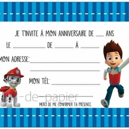 Carte D Invitation Anniversaire Enfant A Imprimer Pat Patrouille Un Grand Marche
