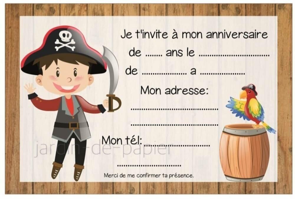 Carte d'invitation anniversaire enfant à imprimer pirate - Un grand marché