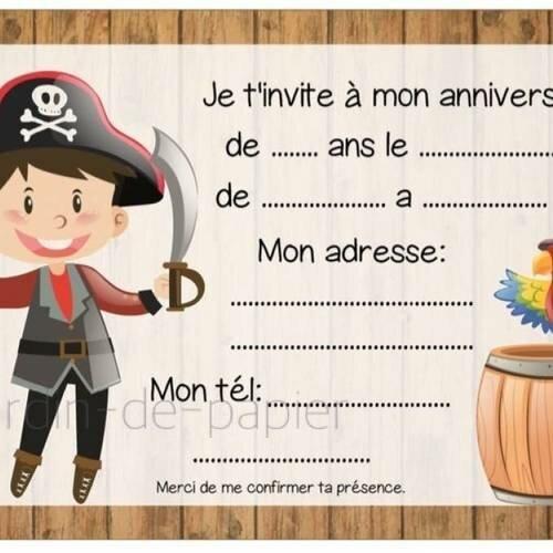 Carte D Invitation Anniversaire Enfant A Imprimer Pirate Un Grand Marche