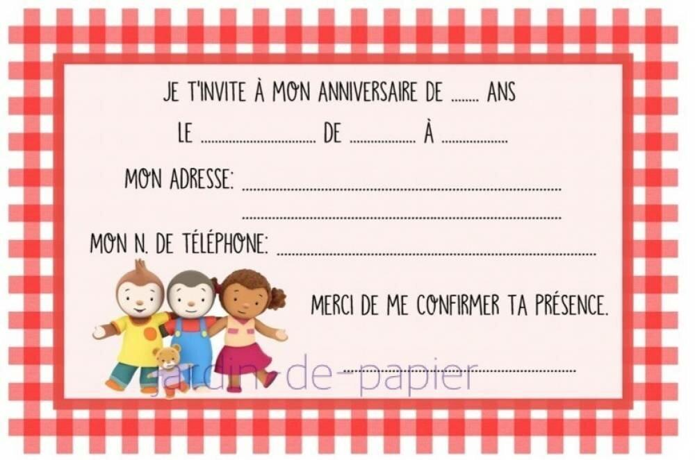 Carte D Invitation Anniversaire Enfant A Imprimer Tchoupi Un Grand Marche