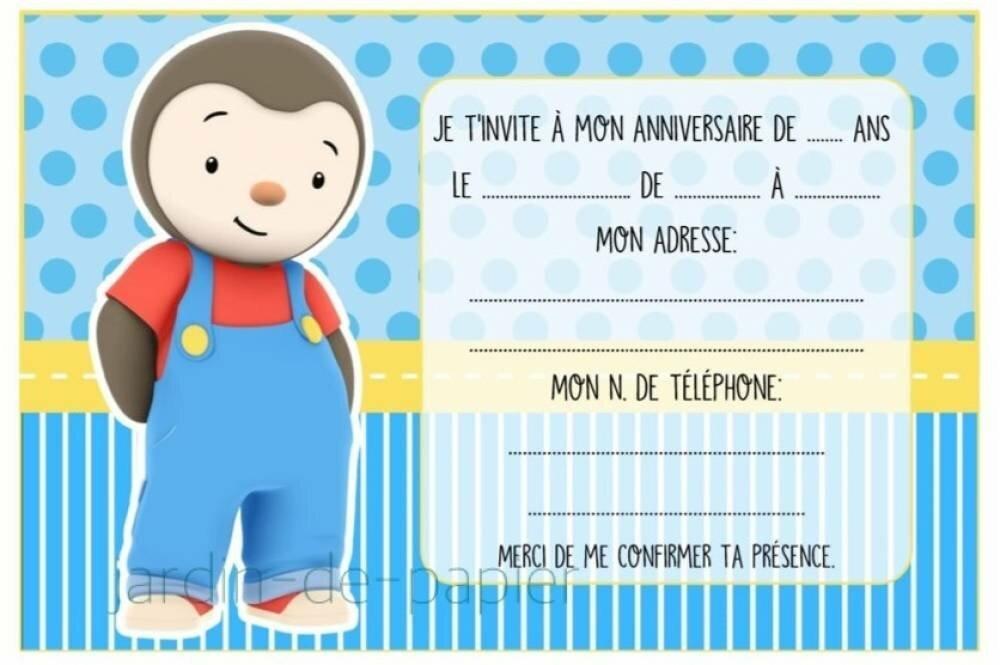 Carte d'invitation anniversaire enfant à imprimer tchoupi - Un grand marché