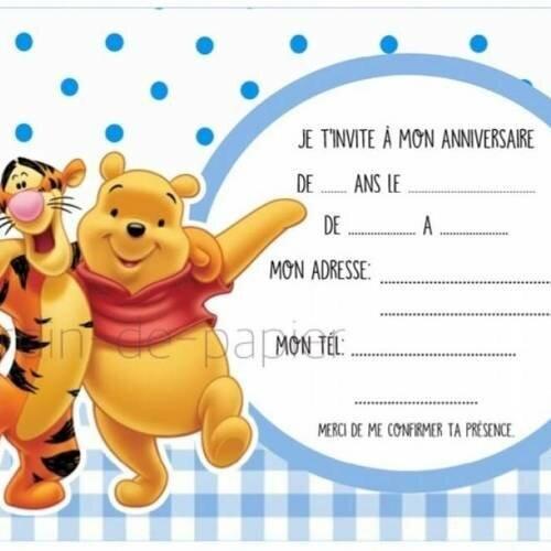 Remarquable Carte d'invitation anniversaire enfant à imprimer winnie - Un MC-67