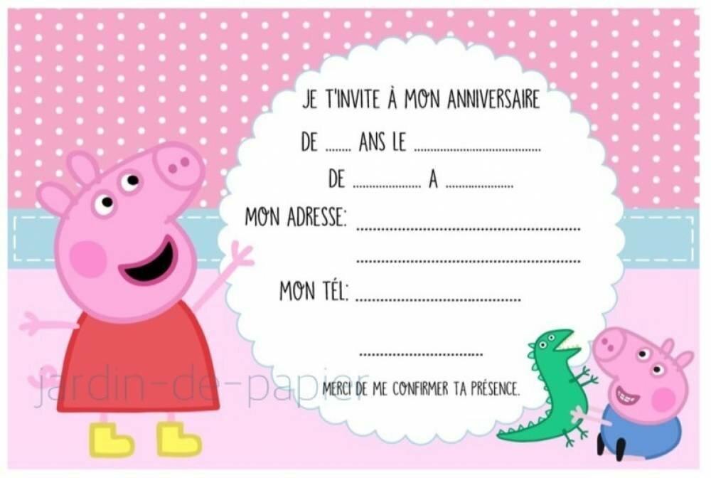 Carte D Invitation Anniversaire Enfant A Imprimer Peppa Pig Un Grand Marche