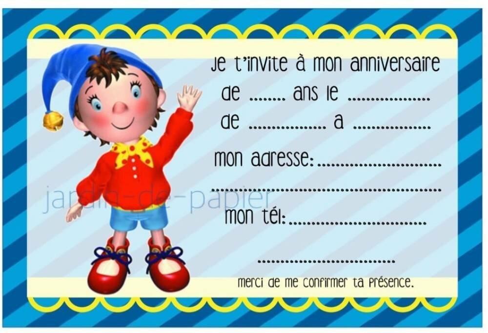 Carte D Invitation Anniversaire Enfant A Imprimer Oui Oui Un Grand Marche