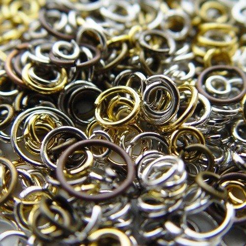 100 anneaux ouverts en laiton, couleurs et tailles mixtes de 4 à 10 mm