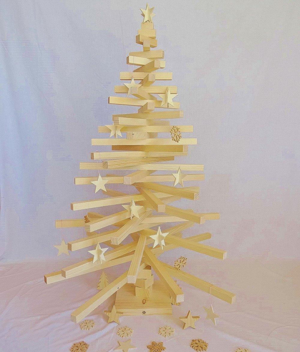 Sapin De Noel Suspendu En Bois 5 étoiles de noël en 3d, décoration de sapin en bois de peuplier naturel, à  suspendre au sapin de noël ou comme décoration de table