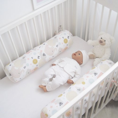 Boudin de lit, tour de lit coussin à l'unité, toute longueur, diamètre 10 cm, 12 cm, 14cm.