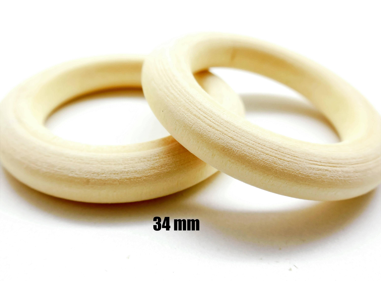10 anneaux connecteurs en bois naturel, diam. 34 mm