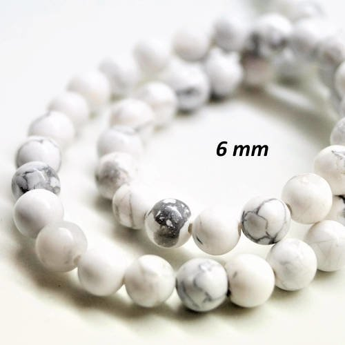 20 perles rondes 6 mm howlite blanche