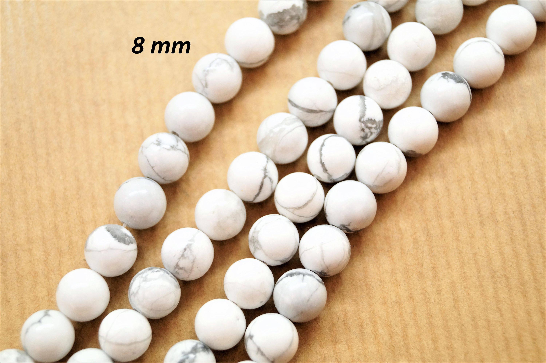 Lot de 20 perles rondes 8 mm Turquoise Howlite, couleur blanche