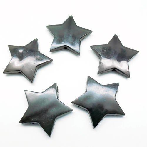 Lot de 10 perles étoiles noires en acrylique, 28*5 mm