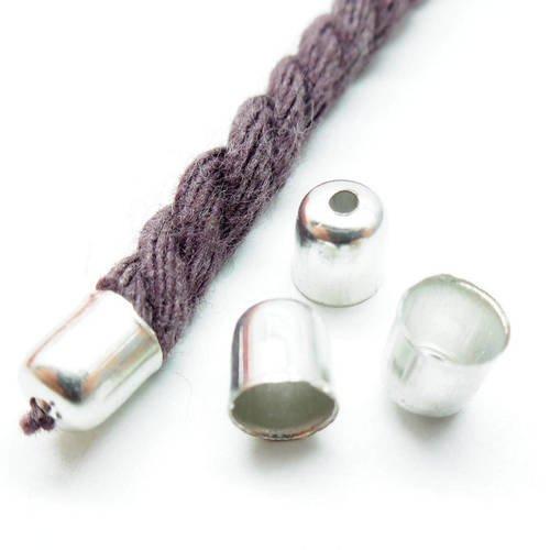 Lot de 10 embouts à coller pour collier, cordon,  couleur métal argenté gun, 6* 5 mm