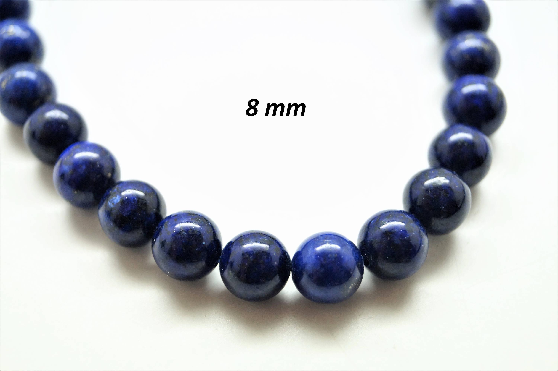 Lot de 20 perles rondes 8 mm Lapis Lazuli, couleur bleu irisé