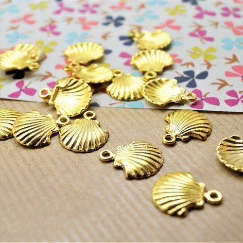 10 breloques coquilles doré 18*15 mm