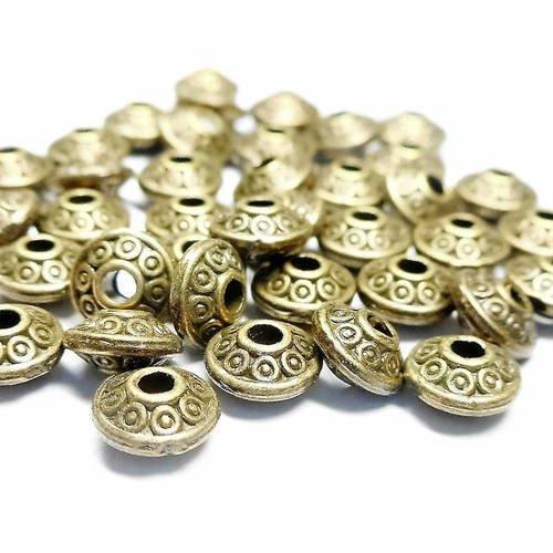 25 perles intercalaires ovales bronze vieilli 6 mm