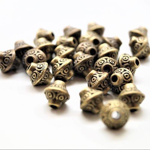 lot de 50 perle ancienne en bronze doré forme toupie