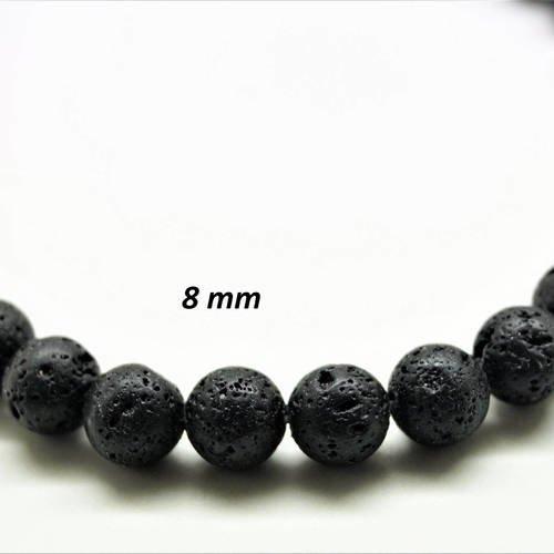 Perles rondes 8 mm pierre de lave volcanique noire