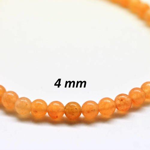 20 perles rondes 4 mm aventurine, couleur orange