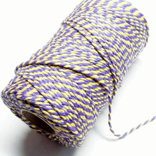 """Coupon de 10 mètres de ficelle """"baker twine"""", jaune vif et violet,  2 mm"""