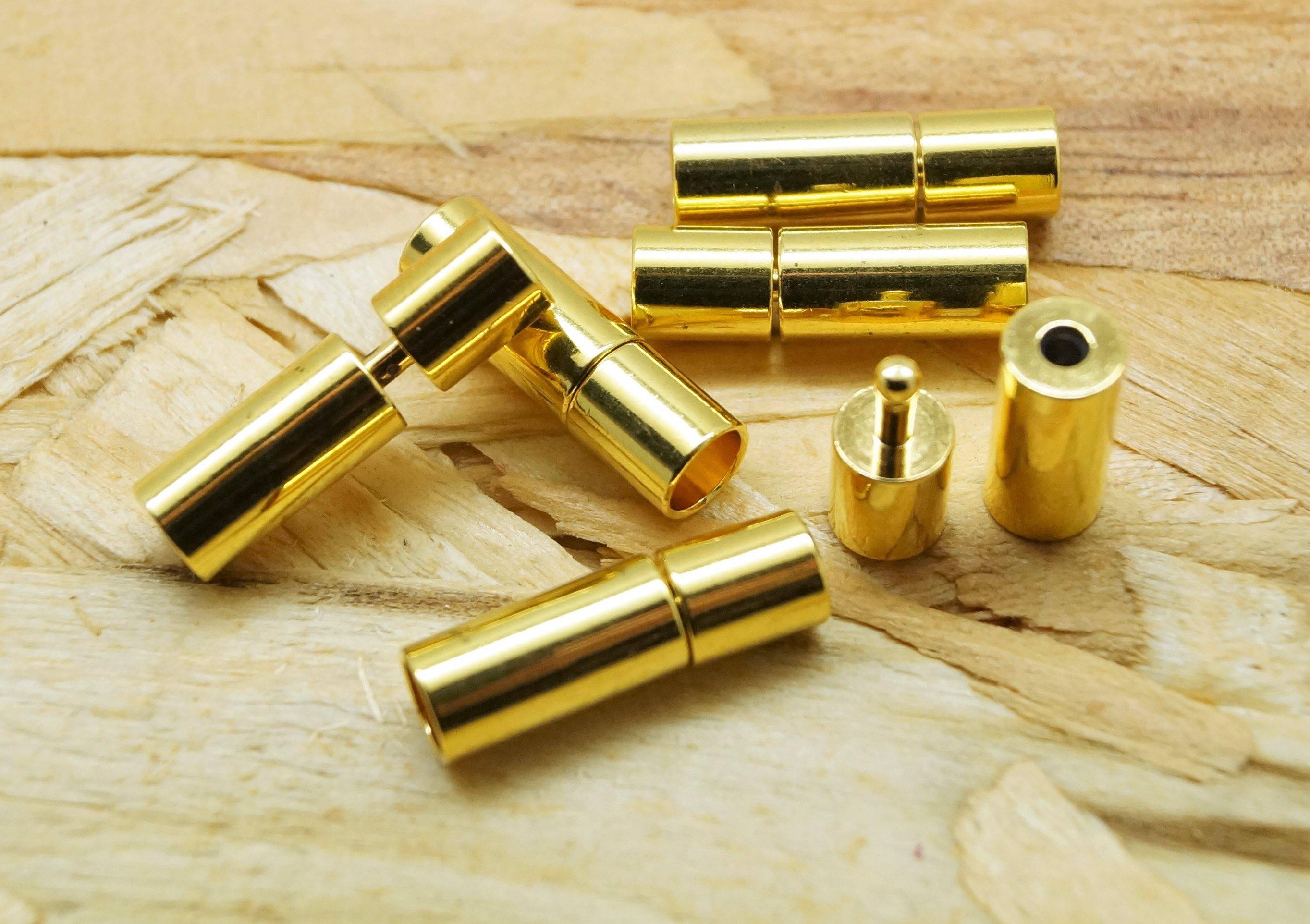 Lot de 2 embouts, fermoirs dorés tubes pour cordon 2 mm