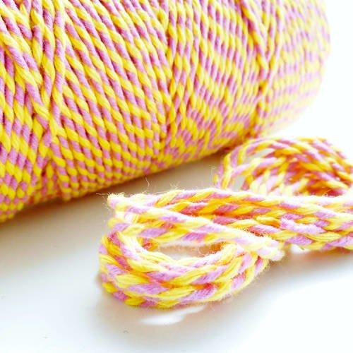"""Coupon de 10 mètres de ficelle """"baker twine"""", jaune et rose, 2 mm"""