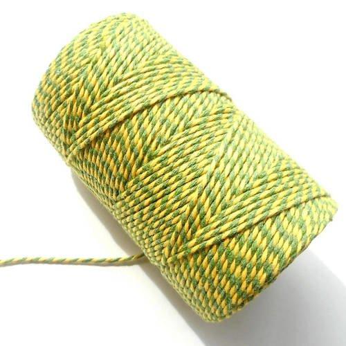"""Coupon de 10 mètres de ficelle """"baker twine"""", jaune et vert herbe, 2 mm"""