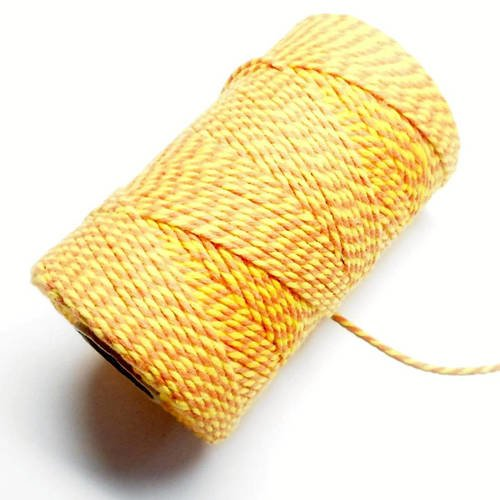 """Coupon de 10 mètres de ficelle """"baker twine"""", jaune et orange, 2 mm"""