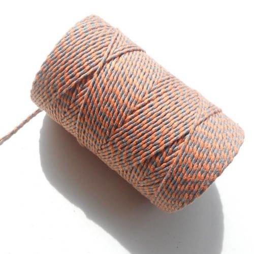 """Coupon de 10 mètres de ficelle """"baker twine"""", gris et orange, 2 mm"""
