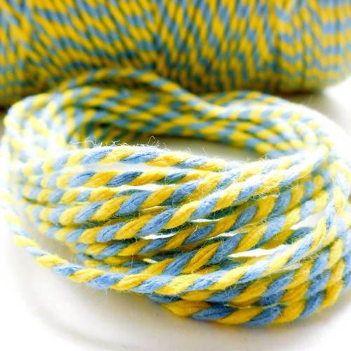 """Coupon de 10 mètres de ficelle """"baker twine"""", jaune et bleu ciel,  2 mm"""