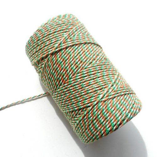 """Coupon de 10 mètres de ficelle """"baker twine"""", orange, vert et blanc, 2 mm"""