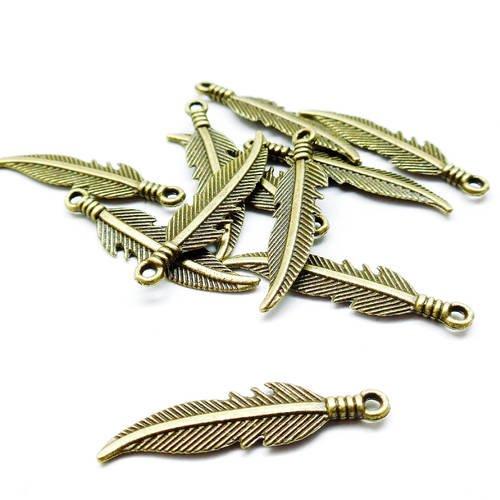 Lot de 10 pendentifs plumes vintage, couleur bronze antique, 6*32 mm