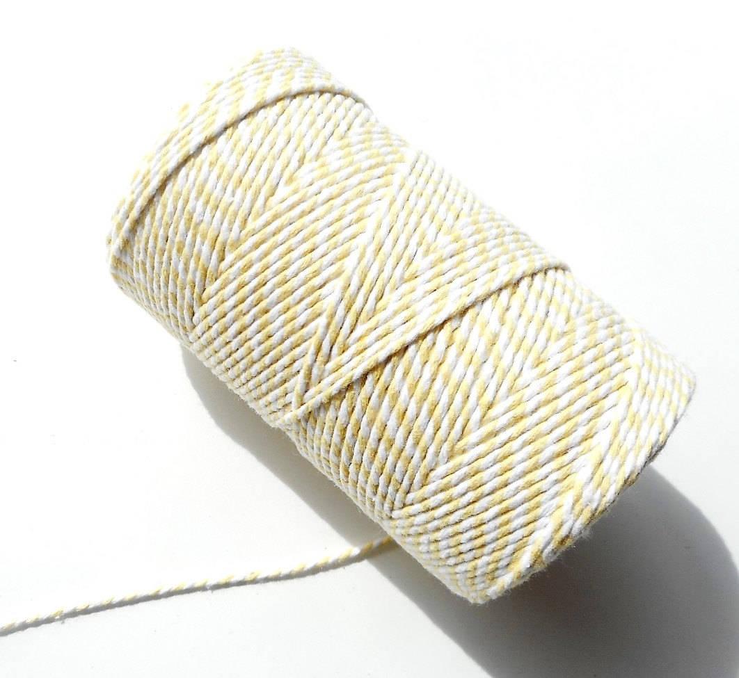 """Lot de 10 mètres de ficelle """"Baker twine"""", jaune pâle et blanc, 2 mm"""
