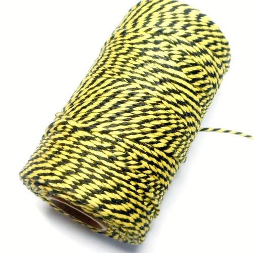 """Coupon de 10 mètres de ficelle """"baker twine"""", jaune vif et noir,  2 mm"""