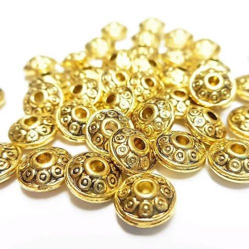 25 perles intercalaires ovales doré vieilli 6 mm