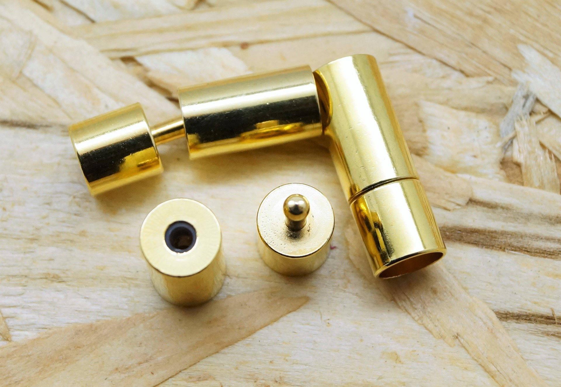 Lot de 2 embouts, fermoirs dorés tubes pour cordon 5 mm